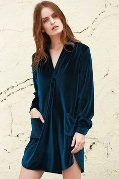 Loose Velvet Shirt Dress CADETBLUE: Long Sleeve Dresses | ZAFUL