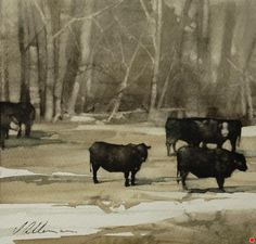 "2013, Red Taggs by Joseph Alleman Watercolor ~ 6"" x 6"""