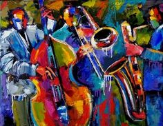 JAZZ ABSTRACT Music art original oil by Debra Hurd, painting by artist Debra Hurd