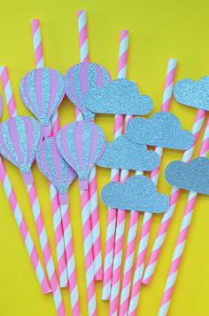 12 Hot Air Balloon Cloud Straws Girl Shower DecorationsUp Up