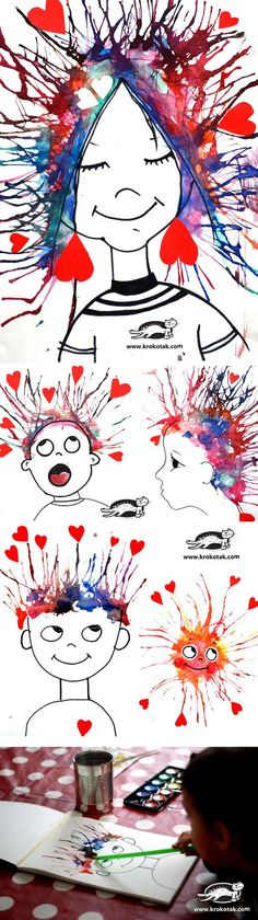 "Kid art for Valentine's Day ""I'm crazy in love with you"" ( haren:door een rietje ecoline te blazen)"