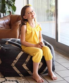 This Yellow Bow Halter Playsuit - Toddler & Girls is perfect! #zulilyfinds