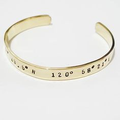 Near or far I'm with you. holding you. DISTANXE BANGLE is a reminder that someone somewhere in those geographical coordinates is waiting and or thinking of you --- in a place you both call HOME. Cuff Bracelets, Bangles, Hold You, Metal Crafts, Cartier Love Bracelet, Mantra, Hand Stamped, Ph, Brass