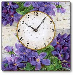 Vintage Style Victorian Violets Clock