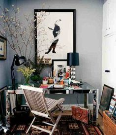 The home office of fashion designer Michael Bastian may only allow room for a desk, a computer, a rug, and some art, but what else do you need?