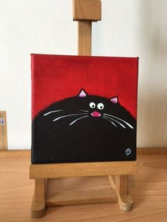 Original acrylic mini canvas painting STUDIO CLEARANCE black cat art red 2 #WhimsicalCatPainting