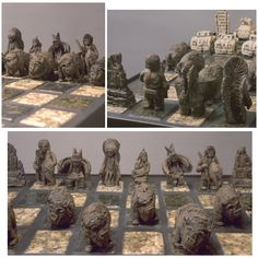 """Jamie E. Hatch. """"The Sacred Hoop"""" chess board. One-of-a-kind, hand-carved ceramic figures."""
