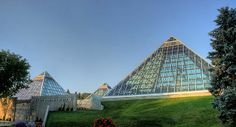 Muttart Conservatory, a botanical garden with four pyramid structures