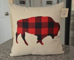 Buffalo plaid Bison Pillow Cover  Rustic by HomeSweetMichigan