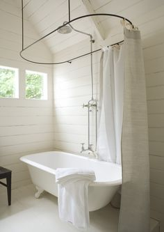 Claw Foot Tub Shower, Horizontal Wood Paneled Walls, Small Window In  Bathroom