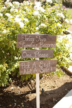 pick a side - ceremony sign - shabby chic wedding