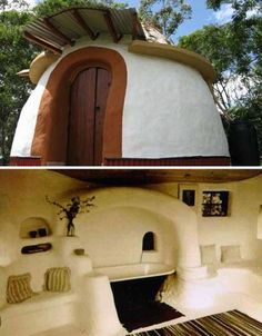 This cozy little bathhouse retreat was made using earthbags. It's a method of filling long tube shaped bags similar to the sandbags they have for putting in your trunk during the winter, then simply stacking them on top of each other in a way that they maintain their own balance as a structure together. Once that part is done just finish up with some stucco/cob/clay/concrete to your liking and you've got a nice building with a lot of thermal mass to keep the temperatures inside always…