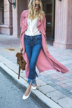 Rose duster coat via Little Blonde Book