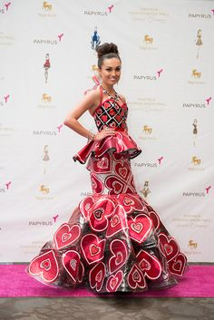 Wearable paper dress created by Project Runway alum and fashion designer Rami Kashou, to celebrate the grand opening of Papyrus' new store at Fashion Show in Las Vegas. Photo by D. Tyler Photography.