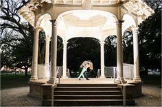 Lit up Gazebo | Battery Park Charleston Engagement Session - Anchor & Veil Photography | Charlotte, NC Wedding Photographers