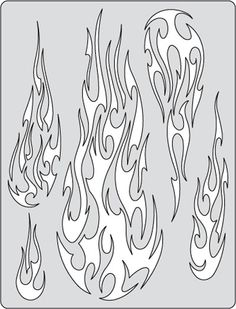 Iwata-Medea Artool Freehand Airbrush Templates, Flame-O-Rama 2 - Fire Balz Stencils, Stencil Templates, Stencil Patterns, Leather Tooling Patterns, Leather Pattern, Skull Stencil, Skull Art, Flame Tattoos, Totenkopf Tattoos