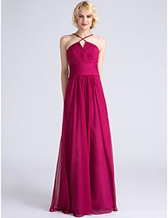 d0dc1c2c78394 [$59.99] Sheath / Column Spaghetti Strap Floor Length Chiffon Bridesmaid  Dress with Criss Cross / Ruched by LAN TING BRIDE®