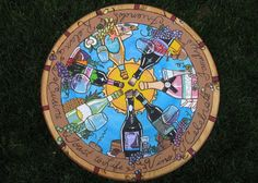 Hand painted wine lazy susan!