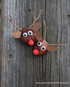 Rudolph aus Kastanien basteln // www.ch/bricos/ - fleurysylvie : Rudolph aus Kastanien basteln // www. Autumn Crafts, Fall Crafts For Kids, Diy For Kids, Christmas Crafts, Christmas Tree, Intarsia Wood Patterns, Wood Craft Patterns, Ideas Para Trabajar La Madera, Conkers Craft