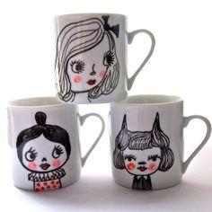 Hand painted porcelain mugs