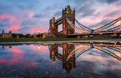 Tower Bridge and Tower of London, Puddled, London, England