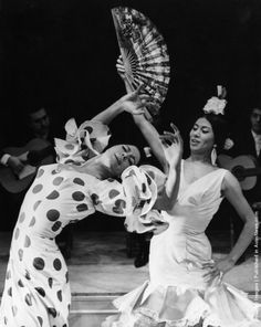 Spanish dancers Manuela Vargas (left) and her sister Bolito Vargas rehearse their flamenco act at the Vaudeville Theatre in London, 4th November 1964