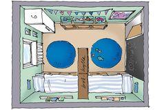 Små barn brukar tycka om att bo tillsammans i ett rum, men ofta vill de ha eget när de blir lite större. Här är några förslag på hur man kan dela ett rum i
