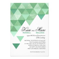 ShoppingGeometric Triangles Wedding | mint green Personalized InvitationsThis site is will advise you where to buy
