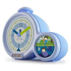 This clock has a picture on the side illustrating to the children whether it is time to sleep or be awake. As it is has a clock it is introducing the time to them