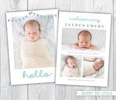 Birth Announcement Template Photo - Modern Collage CB009 - PSD Flat ...