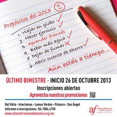 Inscríbete a nuestro último bimestre del año   Para más información visita http://www.alianzafrancesademexico.org.mx/Mexico-DF-Centro-Polanco?id_info=618  #OUIJeParleFrançais