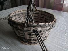 fül Мастер-класс Поделка изделие Плетение ручка для корзины второй вариант Трубочки бумажные фото 7