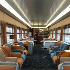 An original Art Deco Club-Car called the Overland Trail made in 1949! It includes an Art Deco bar, club chair seating, and even a barber shop.