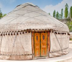 Kyrgyz yurt in traditional style. I love this tone on tone with details