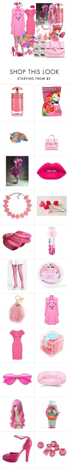 """Princess Bubblegum"" by missmoxxie ❤ liked on Polyvore featuring Prada, Hello Kitty, Versace, Lime Crime, Judith Hendler, International Arrivals, Younique, OROBLU, Sugar Milk Co and Sophie Hulme"