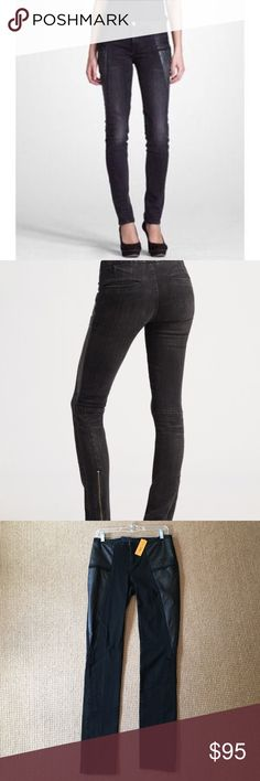 """Tory Burch NWT Black Leather Detail Jean Sz 27 Tory Burch NWT Black Leather Detail Biker Legging Jean Sz 27, Low Rise, Body Hugging through hips, Skinny Jean, retail $250, new with tags didn't take tissue off back buttons, back zipper detail measures up 8 3/4"""", inseam 31.5"""", rise 8.5"""" Tory Burch Jeans"""