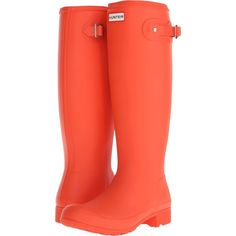 Hunter Original Tour (Tent Red) Women's Rain Boots ($120) ❤ liked on Polyvore featuring shoes, boots, knee-high boots, orange, foldable rain boots, hunter boots, rubber boots, wellington boots and knee high rain boots