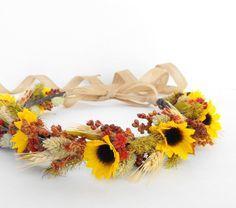 Fall Wedding Hair Crown-Autumn Wedding Headpiece-Sunflower Wedding-Rustic Wedding-Boho Wedding-Rustic Headdress-Sunflower Head Crown by MoonflowerNatureArt on Etsy https://www.etsy.com/listing/226479849/fall-wedding-hair-crown-autumn-wedding