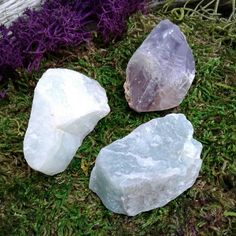 Beautiful Rough Natural Purple Amethyst, Aquamarine, And Amazonite   Size ~ 34mms to 40mms   You will receive all 3 crystals in this picture   Purple Amethyst  Aquamarine  Amazonite   All pictures of our Crystals are taken in natural light  Perfect size for wire wrapping and Terrariums, or enjoying their beauty just the way they are...  Link to our Etsy Shop is on our Pinterest Page
