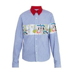 Prada Contrast-collar striped cotton shirt (€685) ❤ liked on Polyvore featuring men's fashion, men's clothing, men's shirts, men's dress shirts, blue multi, mens cotton dress shirts, mens button down dress shirts, mens stripe shirts, mens dress shirts and mens red shirt