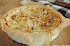 Tarta de gorgonzola con pera y nueces