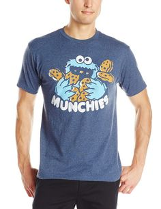 Sesame Street Men's Cookie Munchies Logo Tee, Navy Heather, XX-Large