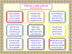 Spanish Poems For Kids Short Color In Colors