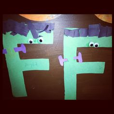Preschoolers are doing f this week... Letter f craft for Frankenstein perfect for Halloween