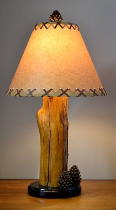 21 Pinecone Birch Twig Log Lamp By CabinBasics On Etsy, $69.99