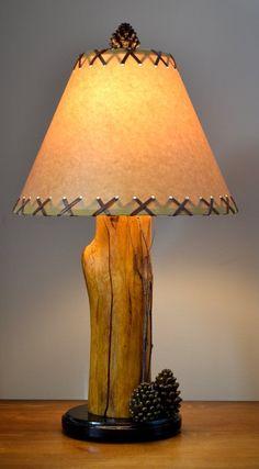 21 Pinecone Birch Twig Log Lamp by CabinBasics on Etsy, $69.99