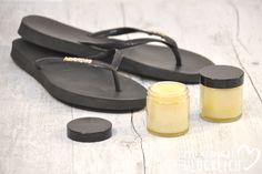 Fußbalsam für weiche Füße selbst gemacht Fußcreme gegen Hornhaut Sommer Flip Flops