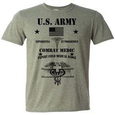 US Army T-Shirt Combat Medic Cotton Tee EFMB