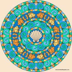 Goldfish Mandala to color free downloadable templates on webpage http://www.donteatthepaste.com/2014/04/goldfish-mandala-to-color.html