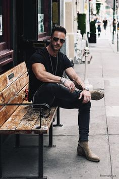 - with a summer outfit idea featuring a black t-shirt black skinny denim sand suede jodhpur boots with wrist accessories sunglasses Men Looks, Outfits Hombre, Mens Fashion Suits, Mode Style, Classy Outfits, Men's Outfits, Urban Fashion, Summer Outfits, Men Casual